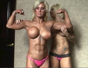 Megan Avalon and tattooed Dani trade compliments and muscle worship in the bedroom as they pose, taking off their panties and fondling each other's ripped, vascular muscles and enjoying each other's pecs, legs, glutes, biceps and abs. Wouldn't you like to be in the middle of this girl/girl lovefest?