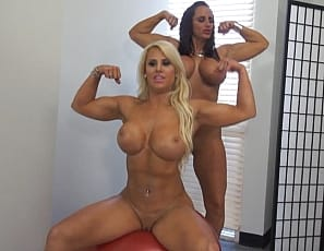 Megan Avalon and Nikki Jackson know how to cheer and they are certainly chesty! Once they start stripping off their clothes and showing of their biceps, glutes, and huge pecs lets just say that it puts team spirit on the rise!