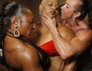 When Carmella, Debra, and Flame get together you never know what to expect. There are a few things you can count on however: there will be plenty of female muscle, huge biceps, muscle worship, posing, flexing, and big muscle clits. This is one party I Wish I'd get an invitation to.