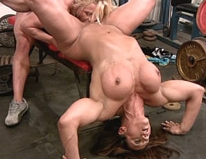 Female bodybuilders Amber Steel and Delphine are going at it girl/girl style. They're working their working out in the gym and they can't keep their hands (or tongues) to themselves. Lots of sucking and biting – if you like the look of long pink tongues on pink and pretty big clits, you'll like this video full of oral fun.