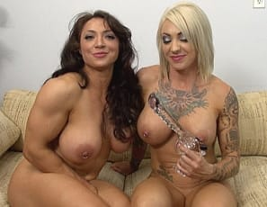 Dani Andrews and BrandiMae love playing together, in fact they get together A LOT. This time however Brandi has a surprise for Dani. She reaches behind the couch cushion and pulls out a gun shaped dildo and begins to rub Dani's clit before fucking her with it. Being the horny naked muscle girl that she is, Brandi can't keep her fingers off of her own clit either - this is a hot muscle lesbian video. You're gonna love it.