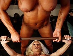 When bodybuilders Ashlee Chambers and Darkside Milinda get together for a nude workout at the gym (the panties go fast), they can't keep their hands off each other's pecs, legs, biceps and abs. You'll love seeing Darkside's long tongue on Ashlee's porn-star pussy and big clit, and vice versa, in close-up, as the girl/girl action gets hotter and hotter. They're so excited they can't stop masturbating either. We bet you will be too.