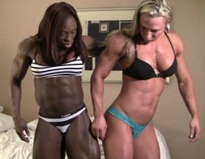 Two female bodybuilders meet in a bedroom for a girl/girl posedown and muscle worship, and enjoy each other's vascular, muscular pecs, biceps, ripped abs, legs, and tattoos. Then the panties come off, and you get to watch them naked in close-up.