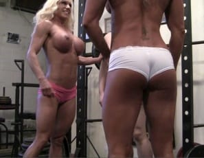 Female bodybuilders Ashlee Chambers, Darkside Milinda, wearing nothing but panties, are training naked, masked Rikochan to worship their ripped, vascular, tattooed leg, glutes, pecs, biceps and abs muscles in the gym, giving her a lift and carry to get started and enjoying the girl/girl/girl action as much as you are.