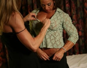 Put bodybuilders Kelly Estelle and Roxie Rain in a bedroom together and you can feel the electricity. The girl/girl excitement, the muscle worship, the caresses and kisses and tonguing. Sexy legs, vascular abs, pretty panties and a lot of heat. The photos just kept coming, and so did they.
