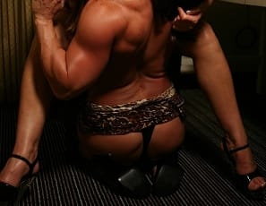 Roxie Rain and Nikki Jackson love to get it on, and they're inviting you into the bedroom to witness some very passionate girl/girl fun. See what happens when all that muscle – sexy pecs, gorgeous glutes, luscious legs, gets tangled together in a super-hot photo session. These bodybuilders really give their whole bodies a workout – including their muscular tongues.