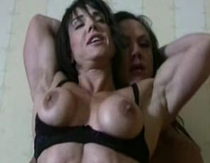 Bodybuilders Amber Steele and Roxie Rain like to get it on any way they can. Amber is so much bigger and more powerful that she's the top girl in this girl/girl bedroom date. But Roxie doesn't mind. She loves to worship Amber's sexy muscles, to receive oral, to show off her pretty pussy. Friendship has its benefits.